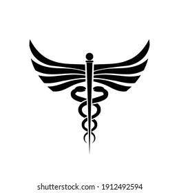 Caduceus symbol icon isolated on white background