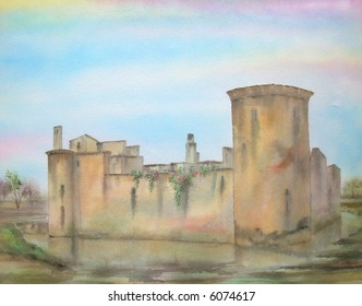 "Caerlaverock Medieval Castle, Scotland, Great Britain; 28x43cms. = 11""x17"" # 96-070"