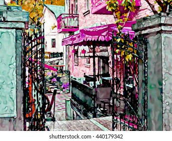 Cafe in the courtyard of the house. Stylization: watercolor.