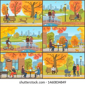 Cafe and customers autumn park, people set raster. Couple on bridge feeding birds, biker on bicycle and boy walking dog on leash. Pensioner with paper