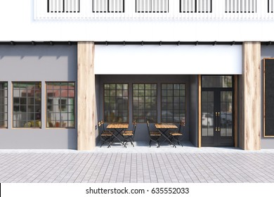 Cafe exterior with gray walls and two wooden tables with chairs standing near a door. 3d rendering