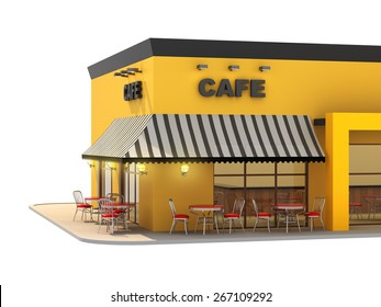 Cafe exterior isolated on white background