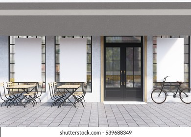 Cafe exterior with large windows with posters, wooden tables with chairs and a bicycle near the entrance. 3d rendering. Mock up.