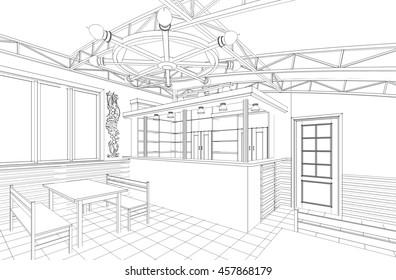 cafe, folk, interior, sketch, 3d illustration
