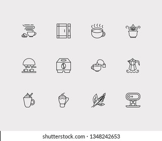 Cafe icons set. Coffee beans and cafe icons with mocha pot, sugar sachet and tea bag cup. Set of container for web app logo UI design.