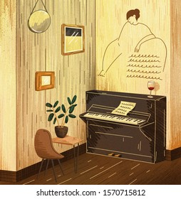 Cafe illustration. Room with piano. Romantic atmosphere. Musician apartment. A glass of wine on the piano.