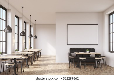 Cafe interior with a large sofa near a white wall, a row of tables with chairs near windows and a big horizontal poster on the wall, wooden floor. 3d rendering. Mock up.