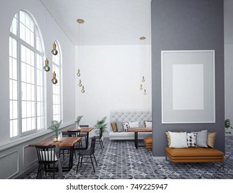 Cafe interior with a large sofa near a white wall, a row of tables with chairs near windows and a big vertical poster on the wall. 3D rendering, 3D illustration