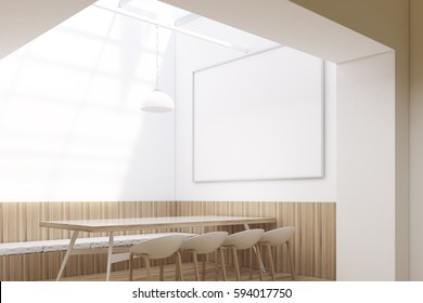 Cafe interior with a long table surrounded by original chairs. There is a horizontal framed poster hanging on the white wall. 3d rendering, mock up