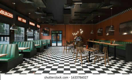 Cafe interior in old american style. 3d illustration
