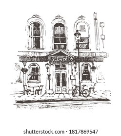 Cafe Print graphic painting  Illustration, Art Print Cafe Paris, Street Cafe in Paris sketch  graphic, Architecture sketch draw graphic illustration black and white, Europe travel cafe art tourism.