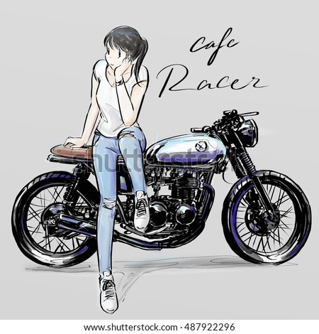 Royalty Free Stock Illustration Of Cafe Racer Poster Banner Drawing
