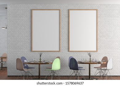 Cafe or restaurant interior with blank two vertical posters on the white brick wall. Front view. Clipping path around poster mock up. 3d illustration.