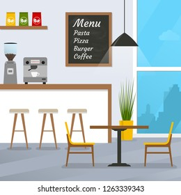 Cafe or restaurant interior design with coffee shop, bar counter and window.