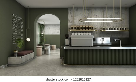 Cafe shop design Modern & Minimal Olive green counter,Gold metal light pendant, Wall Olive green pastel color,Wall concrete,Floor concrete  - 3D render
