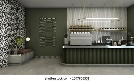 Cafe shop design Modern & Minimal Olive green counter,Gold metal light pendant, Menu on wall Olive green pastel color,Wall 6-sided white tiles,Floor concrete  - 3D render