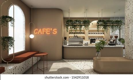 Cafe shop design Modern & Minimal Top Counter Granite stone,Brown counter,Gold metal light pendant, Red neon text cafe on wall,Granite seat,Floor concrete half Granite stone - 3D render