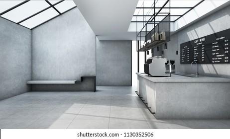 Cafe shop  Restaurant design Minimalist counter concrete Top counter white  concrete wall  concrete floors -3D render