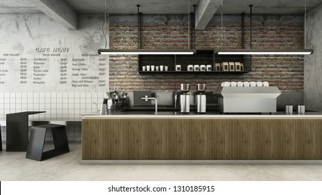 Cafe shop  Restaurant design Minimalist   Loft,Counter wood slat,Top counter metal,  Wall back counter brick,concrete floors -3D render
