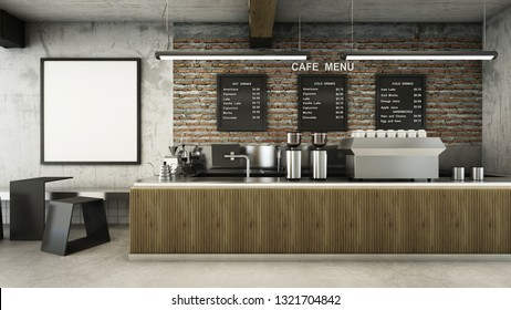 Cafe shop  Restaurant design Minimalist   Loft,Counter wood slat,Top counter metal,Mock up on wall concrete,Menu board on wall back counter brick,concrete floors -3D render