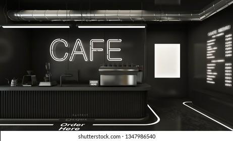 Cafe shop  Restaurant design Minimalist ,Counter black metal,Top counter metal,  Neon lamp cafe sign on wall black color, black concrete floors -3D render