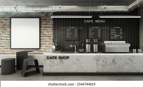 Cafe shop  Restaurant design Minimalist   Loft,Counter concrete,Top counter metal,Mock up on brick wall,Menu board on wall back counter black metal,concrete floors -3D render