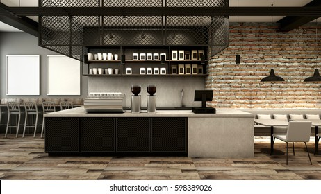 Cafe shop & Restaurant design Modern Loft counter steel black Top counter concrete.side brick wall -3D render