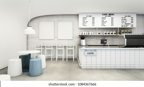 Cafe shop & Restaurant Modern Design. Modern white curved wall,concrete floor,Modern Design Furniture,Counter Bar Concrete with White Tiles- 3D render