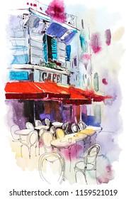 Cafe terrace Old street European restaurant Watercolor illustration.