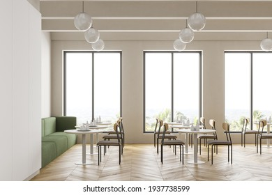 Cafeteria, dining room in university, cafe with tables and chairs, counter bar hotel. Canteen interior in school, college or office. 3d rendering.