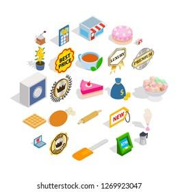 Caff icons set. Isometric set of 25 caff icons for web isolated on white background