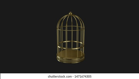 Cage gold on black background metal vintage style prison concept symbol of freedom in perspective and deep dark closure, illustration 3D