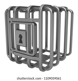 Cage metal rounded grey metal 3d illustration, isolated, horizontal, over white