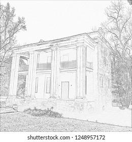 Cahaw Alabam Barker House Pencil Sketch