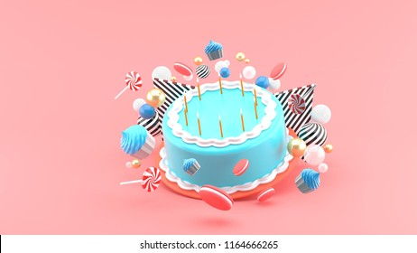 Cake among colorful balls on a pink background.-3d rendering.