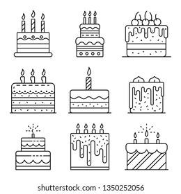 Cake birthday icons set. Outline set of cake birthday icons for web design isolated on white background