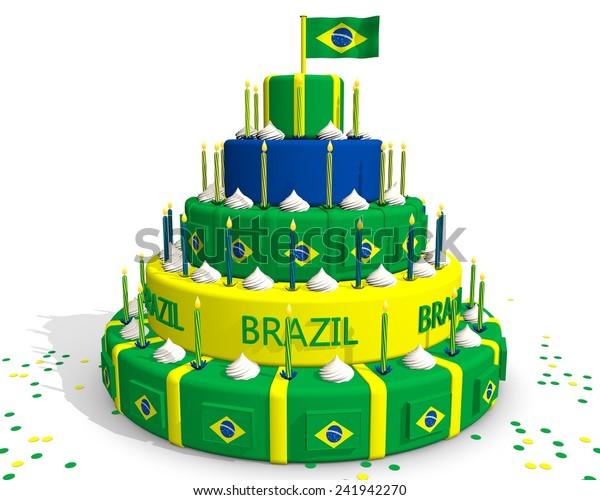 Groovy Cake Brazil Colors Brazilian Flag Green Stock Illustration 241942270 Funny Birthday Cards Online Inifodamsfinfo