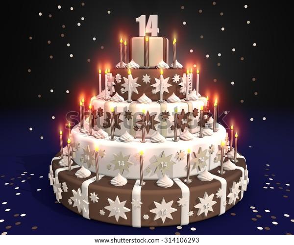 Astonishing Cake Burning Candles Birthday 14 Year Stock Illustration 314106293 Birthday Cards Printable Inklcafe Filternl