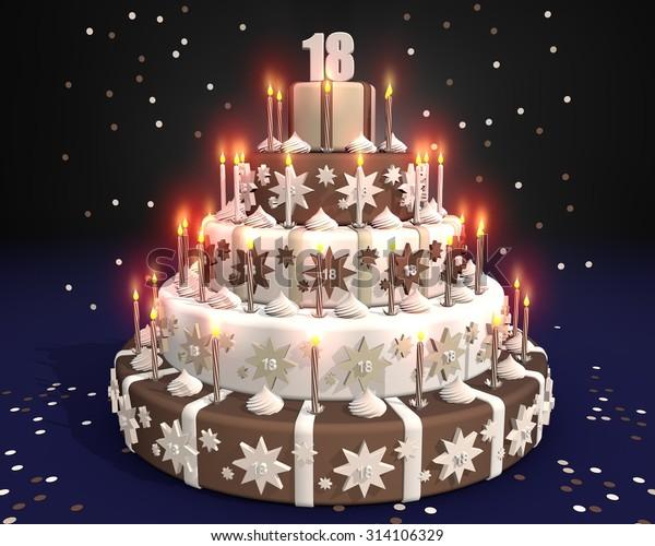 Cool Cake Burning Candles Birthday 18 Year Stock Illustration 314106329 Birthday Cards Printable Trancafe Filternl