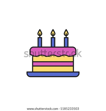 Cake With Candles Colored Icon Element Of Birthday Party For Mobile Concept And Web Apps Can Be Used