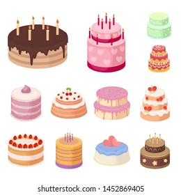 Cake and dessert cartoon icons in set collection for design. Holiday cake bitmap symbol stock web illustration.