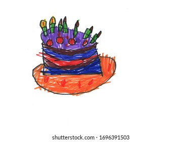 Cake drawing with felt-tip pen on a white background.