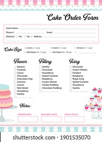 Cake Order Form for a Bakery