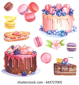 Cakes and macaroons watercolor postcard