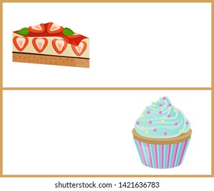 Cakes variety delicious desserts web page for online shopping with text sweet bakery cream banners isolated on raster illustration