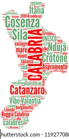 Calabria tag cloud - Italian regions