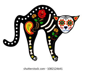 Calavera cat isolated on white for Mexican Day of the dead, Dia de Muertos