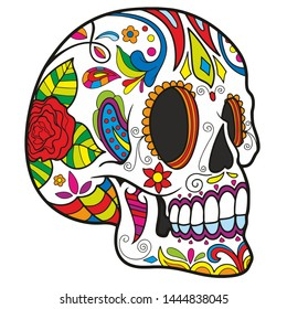 calavera skull mexican festival celebration dead day halloween illustration perspective