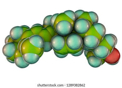 Calcidiol molecule, also called calcifediol, major circulating metabolite of vitamin D3 produced in liver, 3D illustration