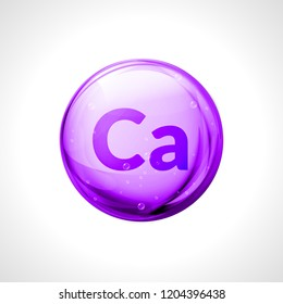 Calcium mineral pill icon. 3D drop mineral and vitamin supplement medical dietary complex.